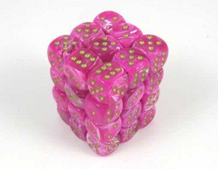 Vortex Pink/gold D6 12mm Dobbelsteen Set (36 stuks)