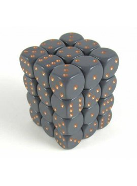 Opaque Dark Grey/copper D6 12mm Dobbelsteen Set (36 stuks)