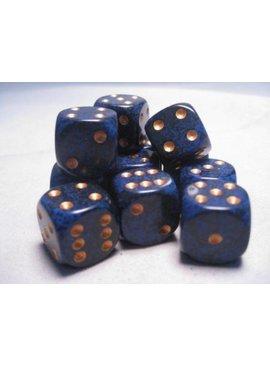 Cobalt Speckled D6 16mm Dobbelsteen Set (12 stuks)