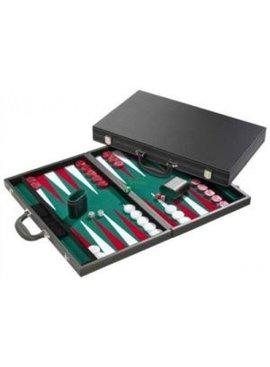 Backgammon 38 cm. zwart/groen de Luxe
