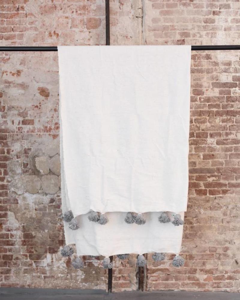 Pompom deken XL katoen