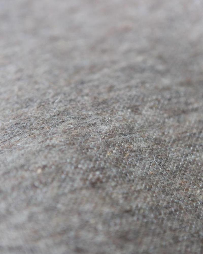 Wool pompom berber blanket greybrown 250x150