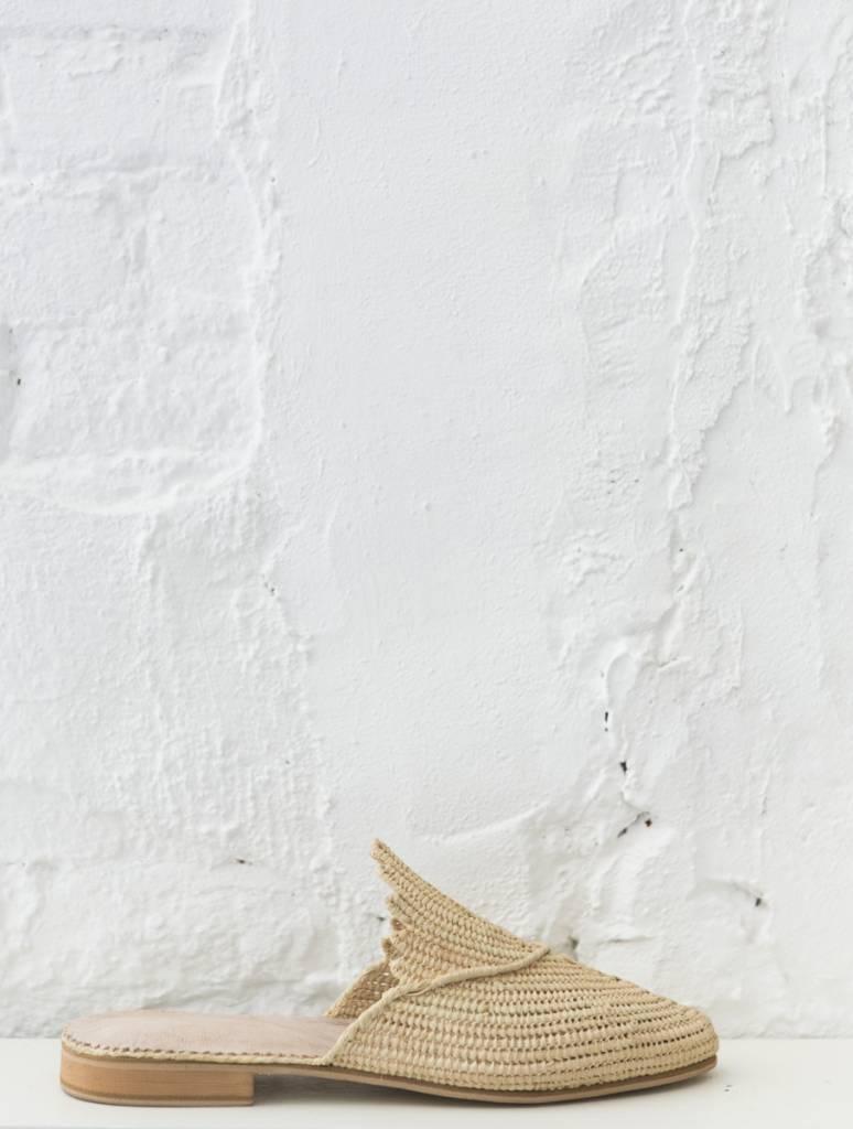 Handmade Natural Raffia slip-on sandals made in Morocco