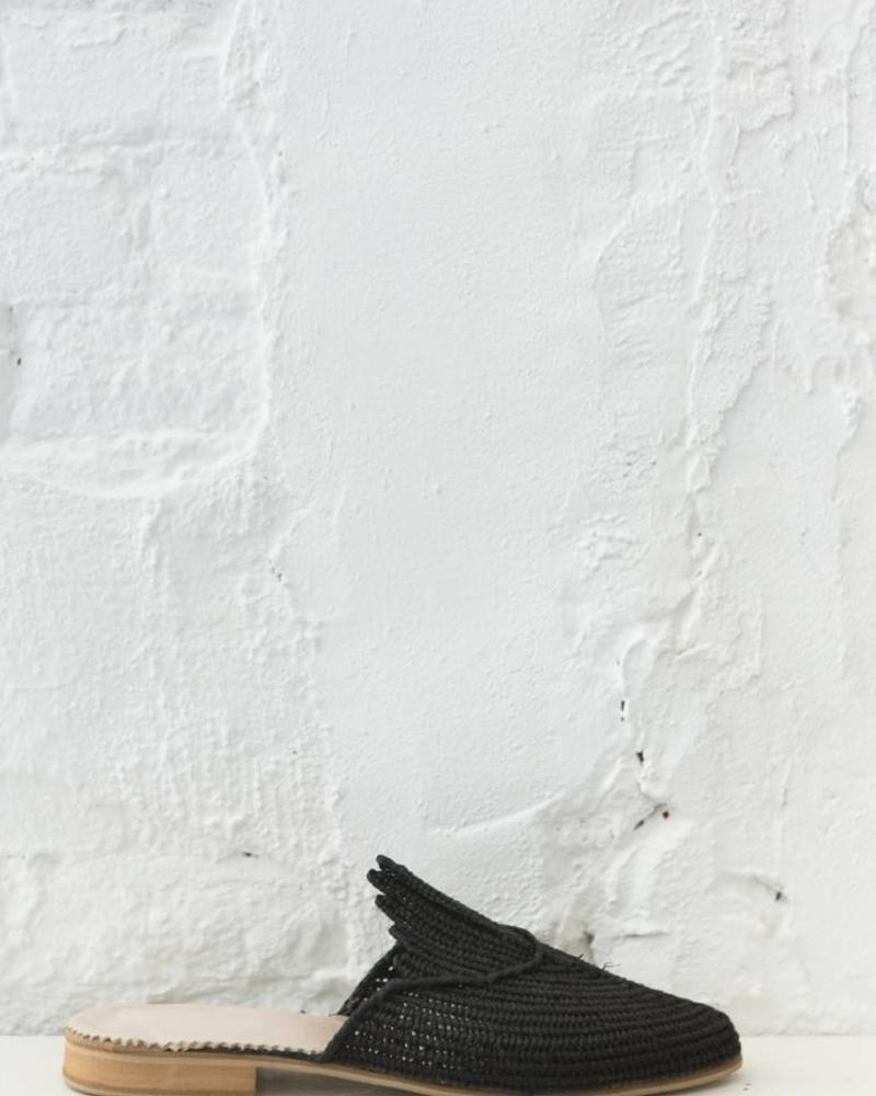 Handmade Black Raffia slip-on sandals