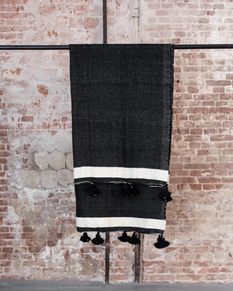 Katoenen pompom berber deken white 120x150