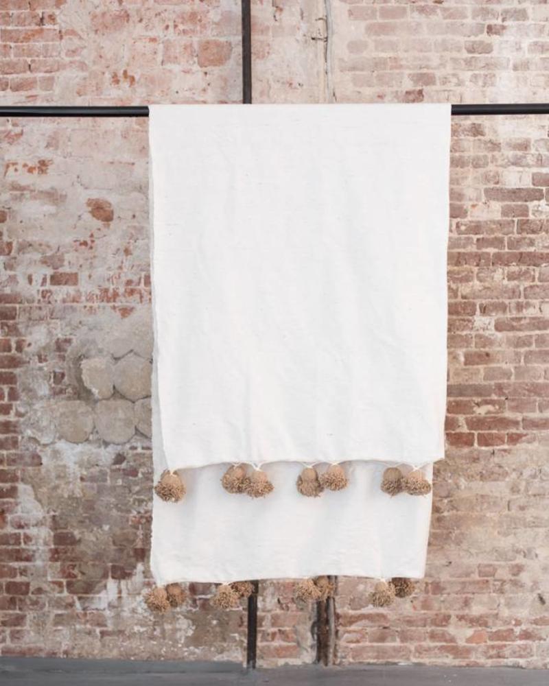 Katoenen pompom berber deken white 120x150 cm