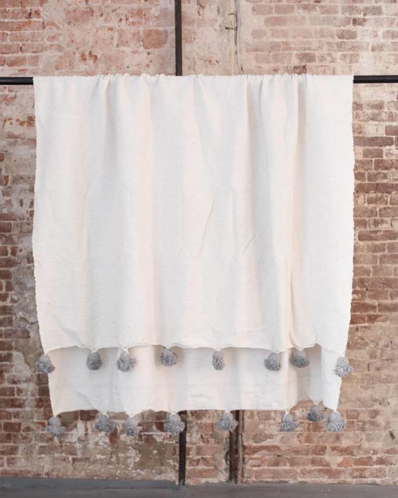 Katoenen pompom berber deken white 150x250
