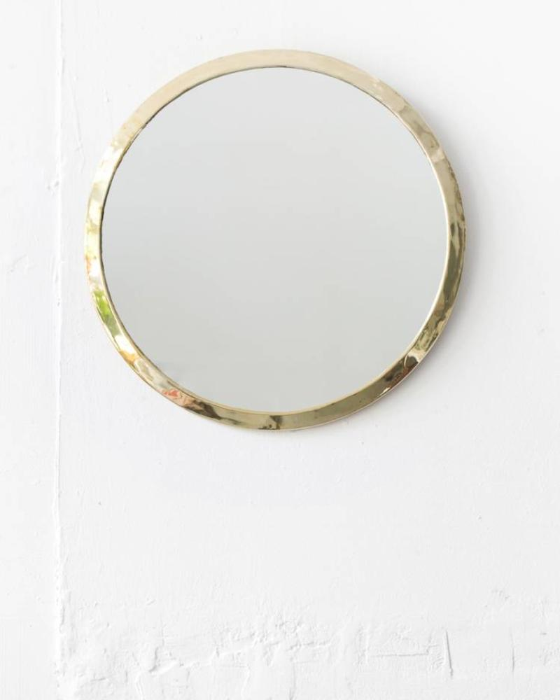 Gold colored round mirror from Morocco