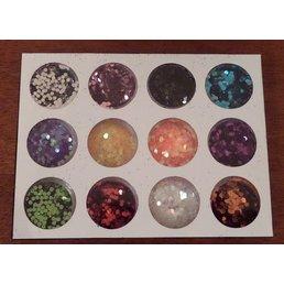 Glitterpoeder druppels 12 kleuren