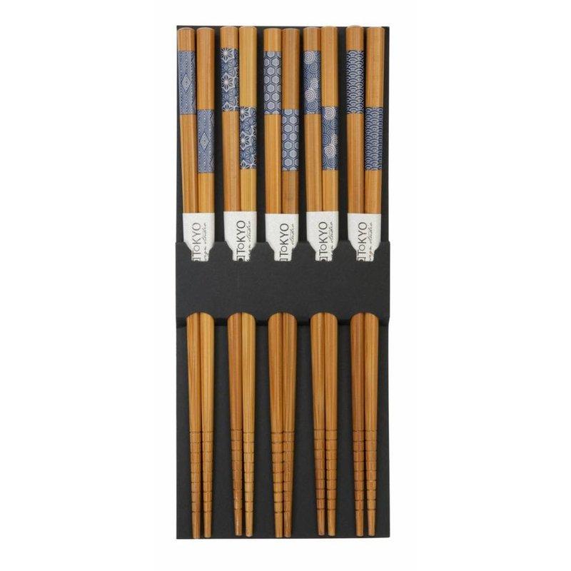 Chopsticks Bamboo Indigo Pattern