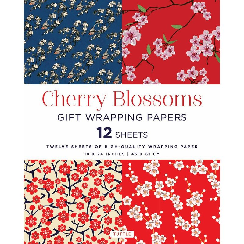 12 sheets of gift wrapping paper with the Japanese cherry blossom