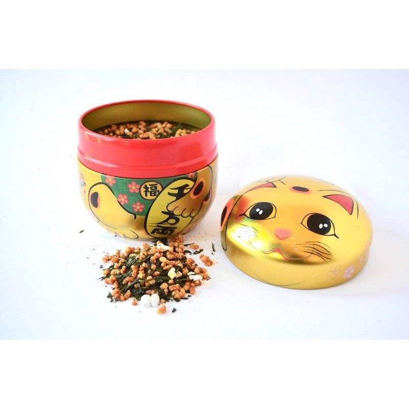 Tea tin with Japanese lucky kitten