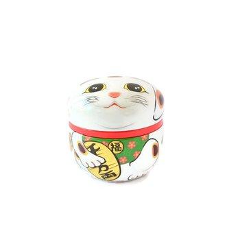 Tea tin Maneki Neko White
