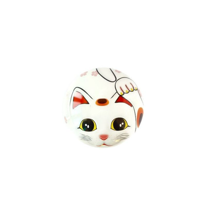 Tea tin with Japanese lucky kitten - white