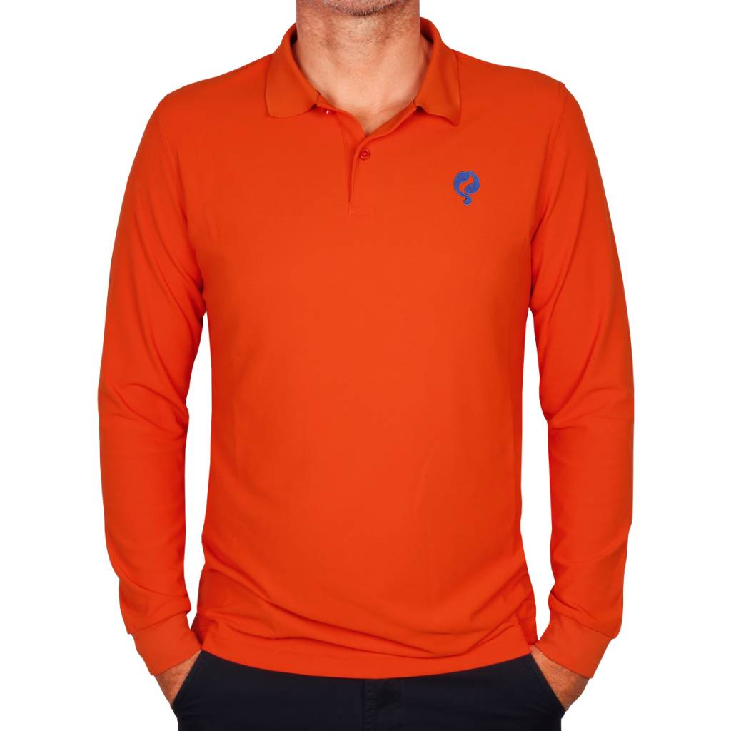Heren Longsleeve Polo JL High Orange