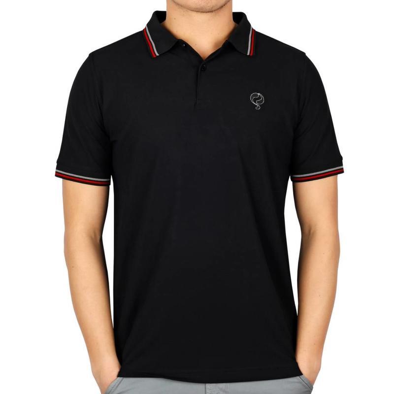 Men's Longsleeve Golf Polo JL Center Black