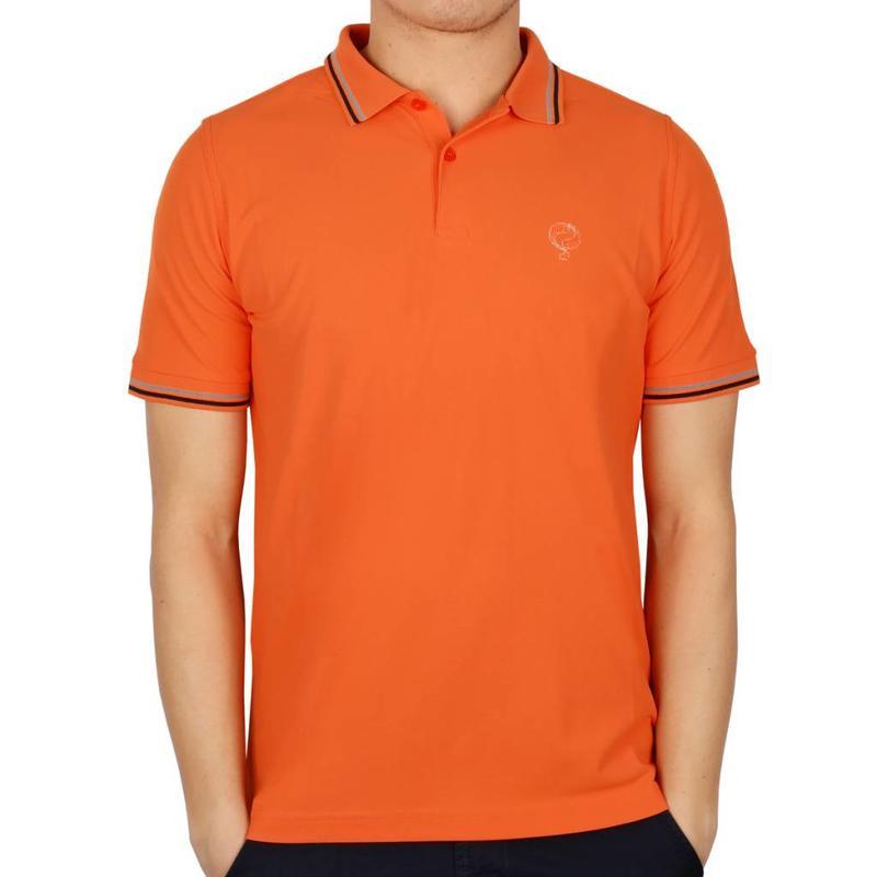 Men's Longsleeve Golf Polo JL Center Orange