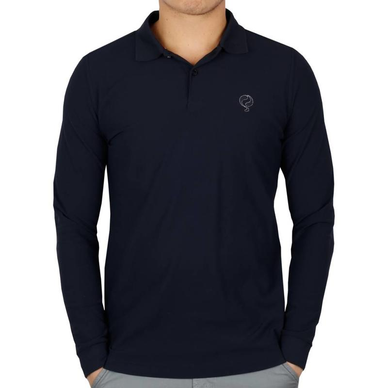 Heren Longsleeve Polo JL High Navy