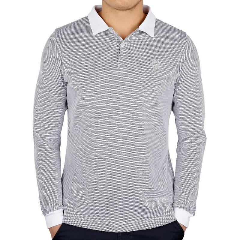 Men's Longsleeve Golf Polo JL High White / Black
