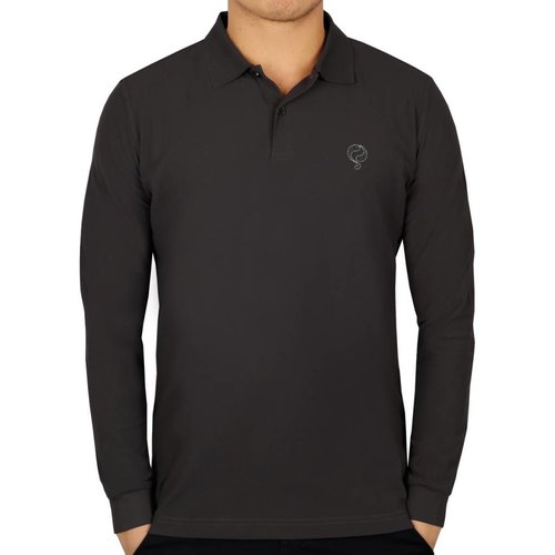 Men's Longsleeve Golf Polo JL High Dk Grey