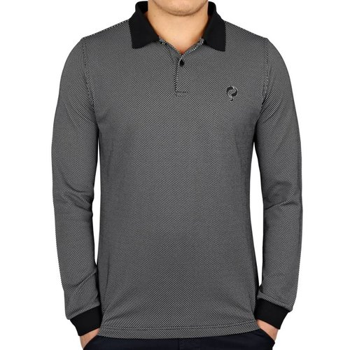 Men's Longsleeve Golf Polo JL High Black / White
