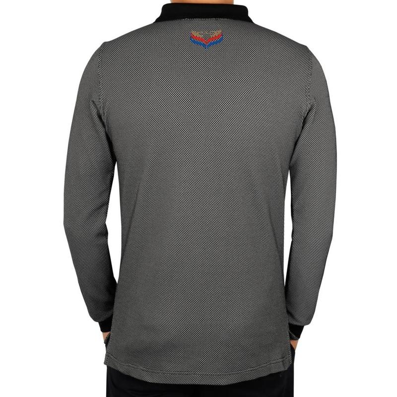 Men's Longsleeve Golf Polo JL High Black / White