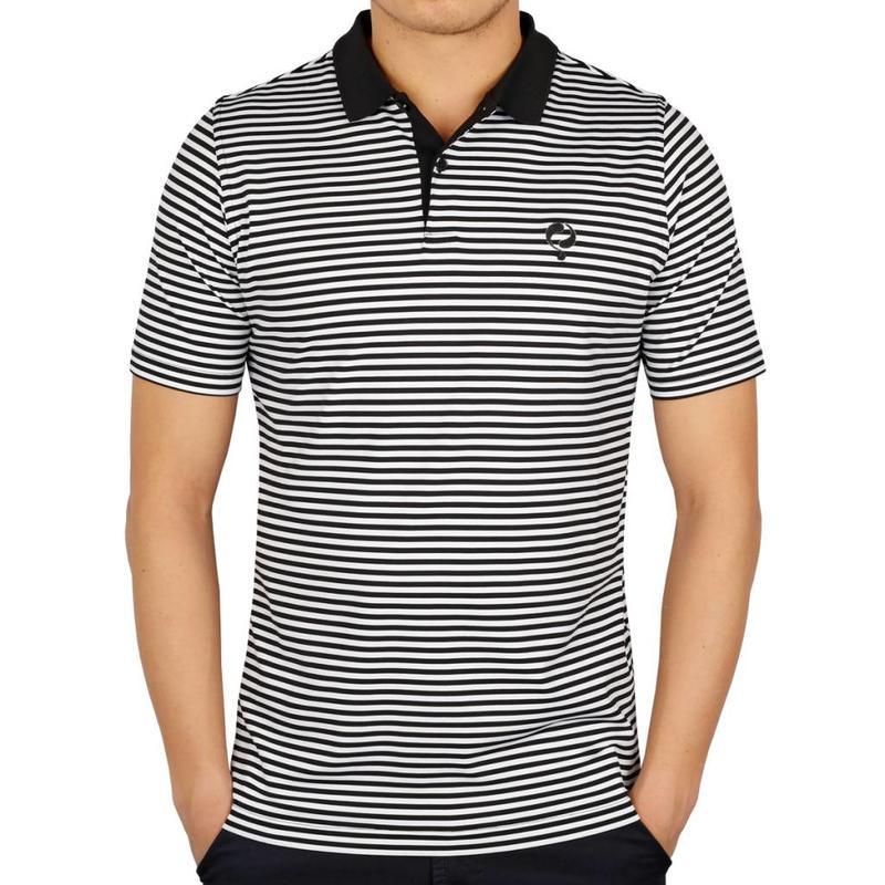 Men's Golf Polo Stripe JL Punch Black / White