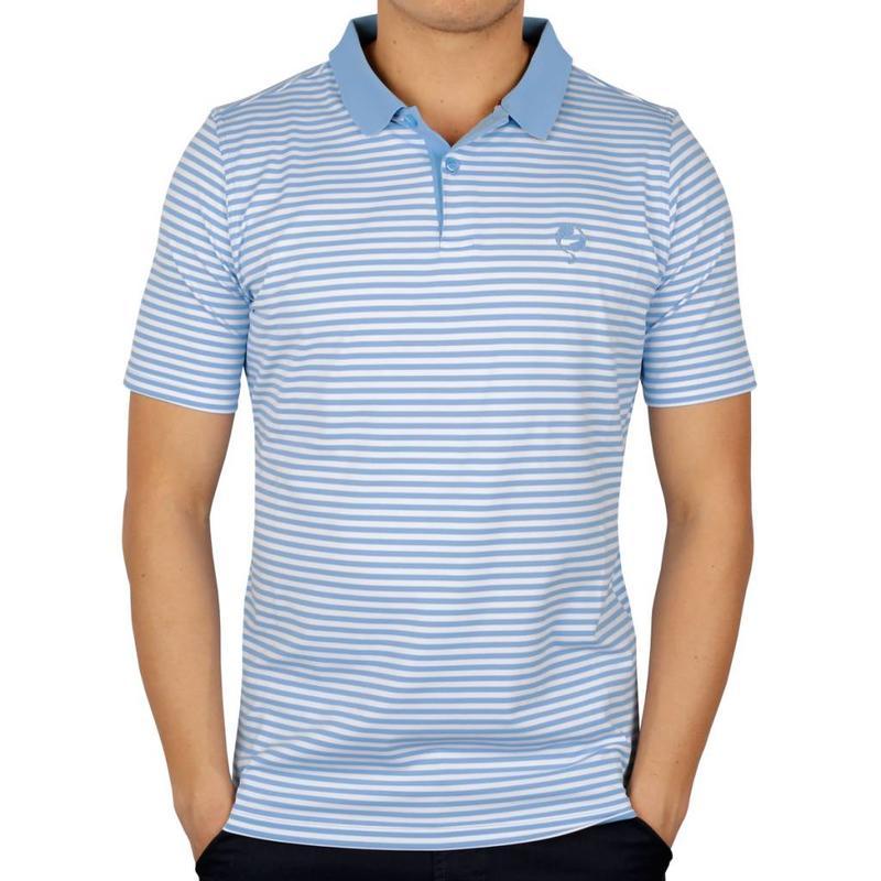 Heren Polo Stripe JL Punch Lt Azul / White