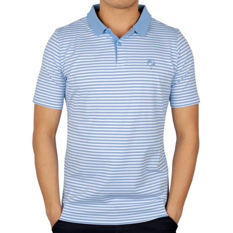 Men's Golf Polo Stripe JL Punch Lt Azul / White