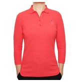 Women's 3/4 Golf Polo Distance Scarlet Pink