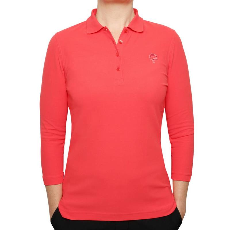 Women's 3/4 Golf Polo Distance Scarlet Pink