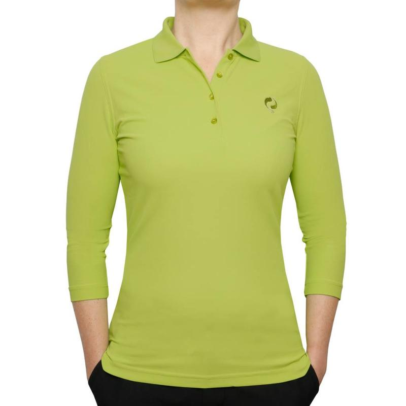 Women's 3/4 Golf Polo Distance Lime Green