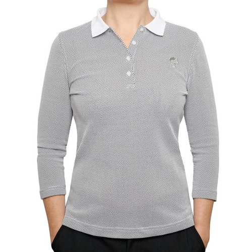 Women's 3/4 Golf Polo Distance White / Black