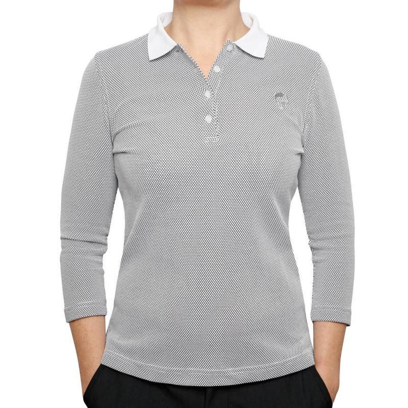 Women's 3/4 Golf Polo Distance White / Black