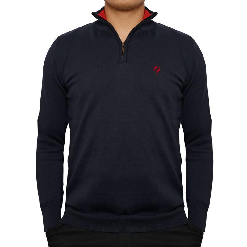 Men's Pullover Half Zip Stoke Deep Navy / Chinese Red
