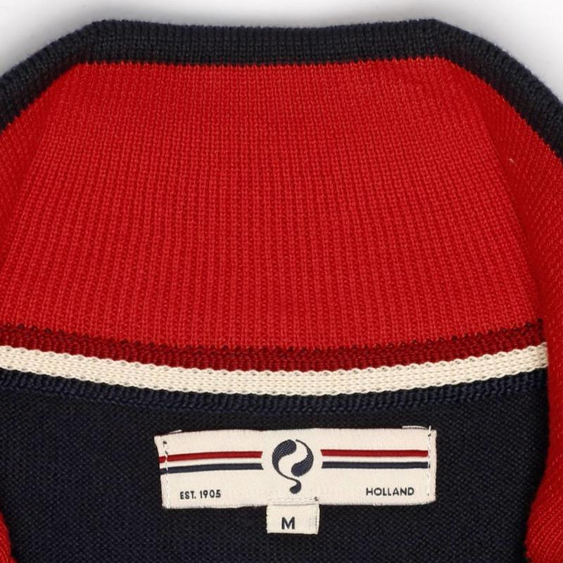 Heren Pullover Half Zip Stoke Deep Navy / Chinese Red