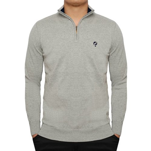 Men's Pullover Half Zip Stoke Greyhound / Deep Navy