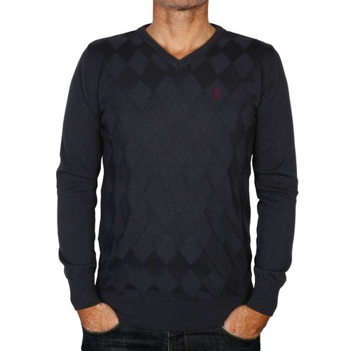 Heren Pullover Ruit Denton Deep Navy