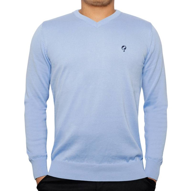 Heren Pullover V-neck Marden Light Azul
