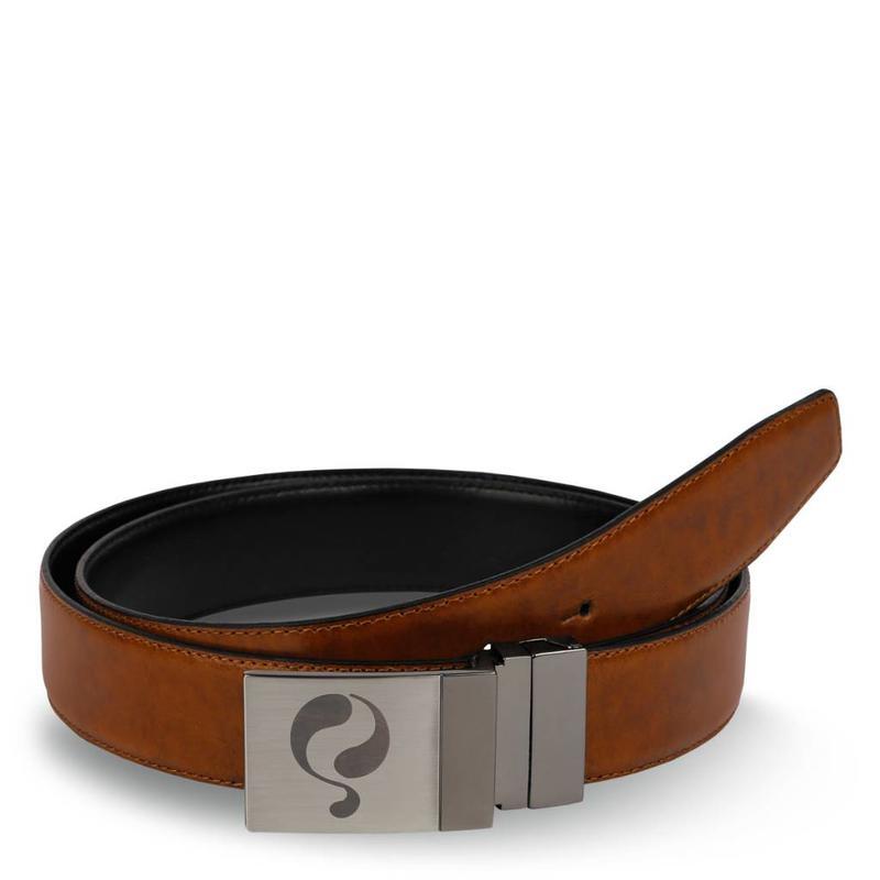 Leather Belt Chip Black / Cognac