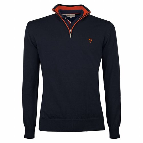 Heren Pullover Half Zip Stoke Deep Navy / Orange