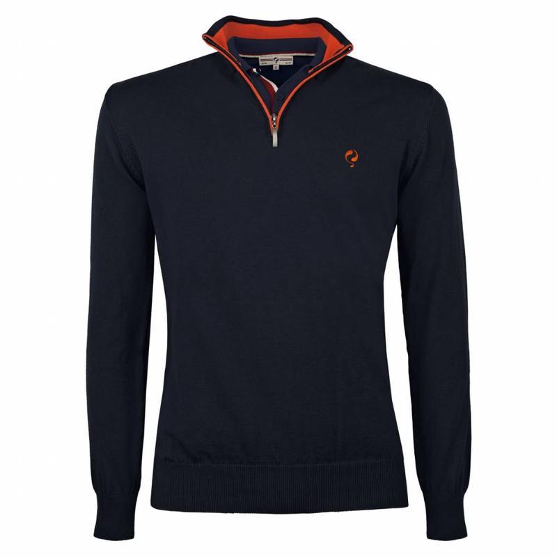 Heren Pullover Half Zip Stoke Deep Navy / Orange
