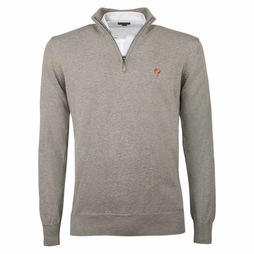 Heren Pullover Half Zip Stoke Light Grey Orange / Silver