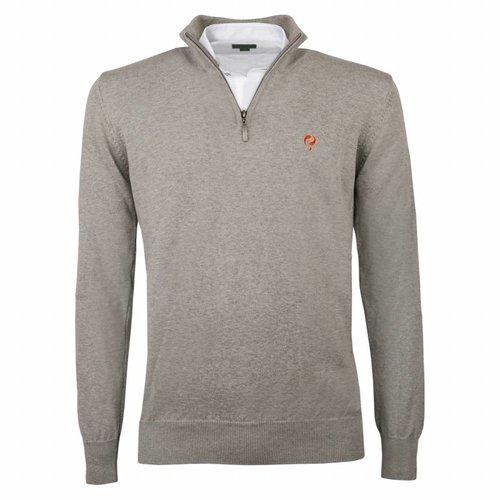 Men's Pullover Half Zip Stoke Light Grey Orange / Silver
