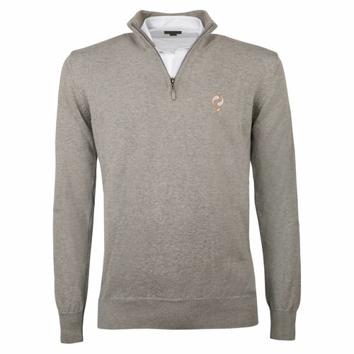 Heren Pullover Half Zip Stoke Light Grey Silver / Orange