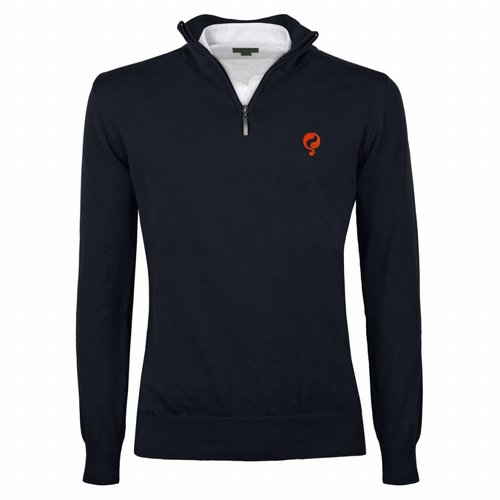 Heren Pullover Half Zip Stoke Deep Navy Orange