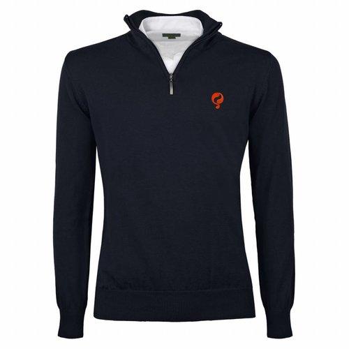Men's Pullover Half Zip Stoke Deep Navy Orange