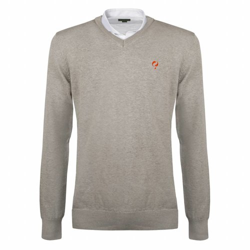 Heren Pullover V-neck Marden Light Grey Orange / Silver