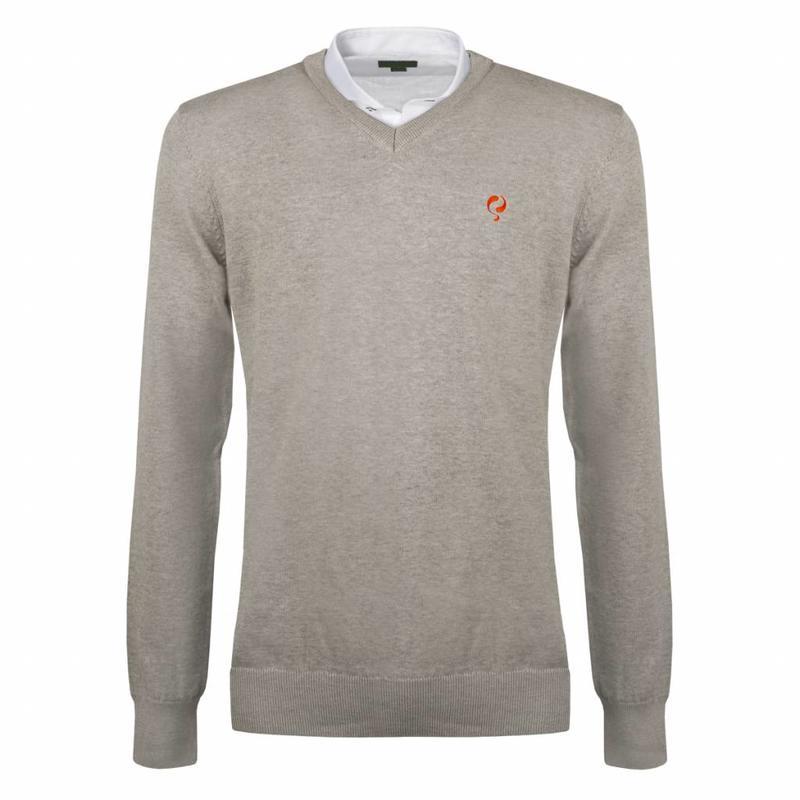 Heren Pullover V-neck Marden Light Grey Orange / Silver