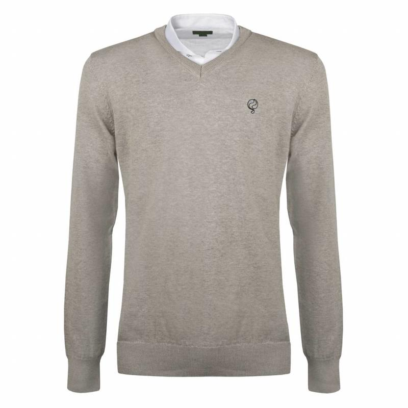 Heren Pullover V-neck Marden Light Grey Silver / Black